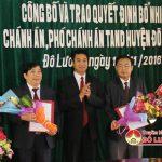 Tòa án nhân dân huyện Đô Lương tổ chức lễ công bố và trao quyết định bổ nhiệm chánh án và phó chánh án.
