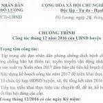 Chương trình Công tác tháng 12 năm 2016 của UBND huyện