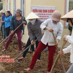 Hội nông dân xã Tràng Sơn giúp Trường tiểu học xã Tràng Sơn xây dựng vườn rau dinh dưỡng.