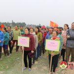 Hội phụ nữ xã Hiến Sơn tổ chức hội thi cấy lúa vụ xuân 2018