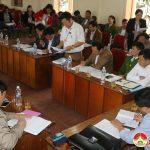 Lãnh đạo huyện làm việc với lãnh đạo xã Hiến Sơn về công tác xây dựng NTM