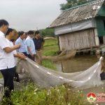 Đồng  chí Nguyễn Trung Thành – Phó chủ tịch UBND huyện kiểm tra mô hình kinh tế ở Bài Sơn