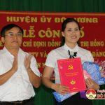 Huyện ủy Đô Lương trao quyết định chỉ định đồng chí Lê Thị Hồng Hà giữ chức vụ Bí thư Đảng ủy xã Bồi Sơn