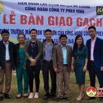 LĐLĐ Đô Lương: Trao gạch xây trường Mầm non xã Trù Sơn, Lạc Sơn