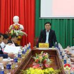 Đồng chí Thái Thanh Quý – Ủy viên dự khuyết trung ương Đảng, Phó bí thư Tỉnh ủy, CHủ tịch UBND tỉnh làm việc tại huyện Đô Lương