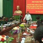 UBND huyện tổ chức hội nghị trực tuyến sơ kết 6 năm thực hiện luật nghĩa vụ quân sự  năm 2015  giai đoạn (2016 – 2021), rút kinh nghiệm công tác tuyển quân.